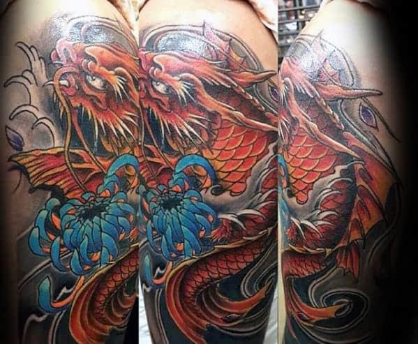 orange-koi-dragon-with-blue-flower-guys-arm-tattoo