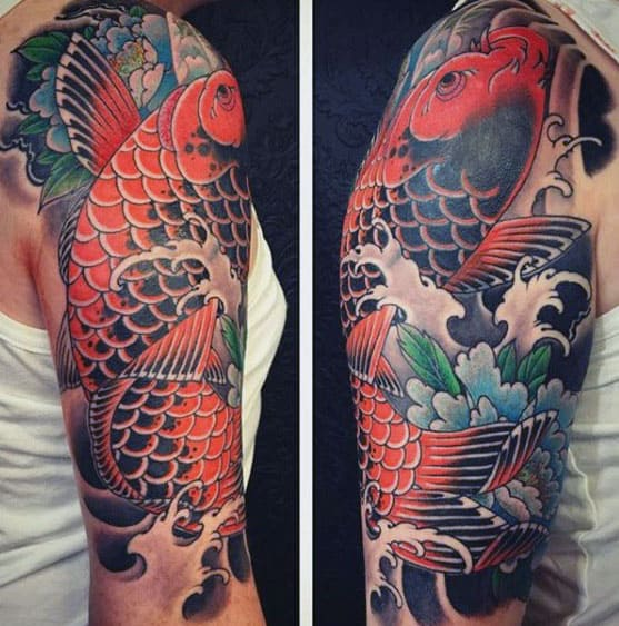 65 Japanese Koi Fish Tattoo Designs Meanings: 60 Japanese Half Sleeve Tattoos For Men