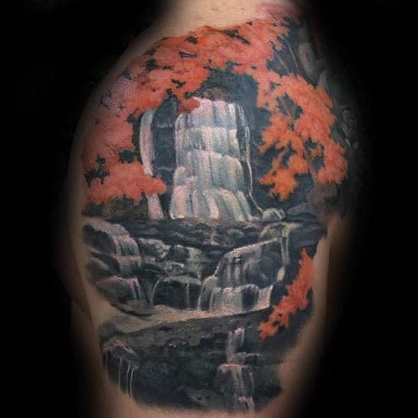 Orange Leaves On Tree Waterfall Upper Arm Tattoos For Men