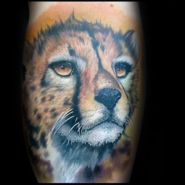 Orange Mens Leopard Arm Tattoo Ideas