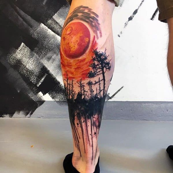 Orange Moon With Trees Artsy Mens Leg Tattoo