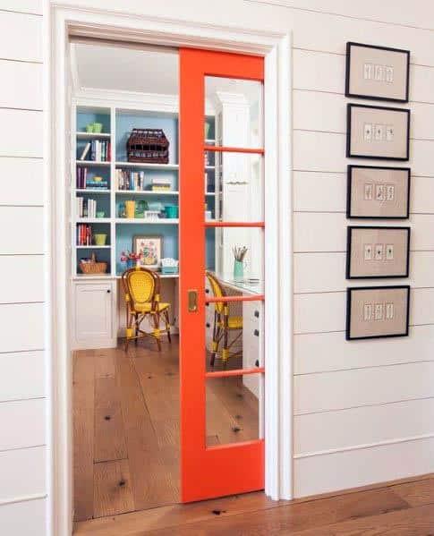 Orange Office Pocket Door Interior Design