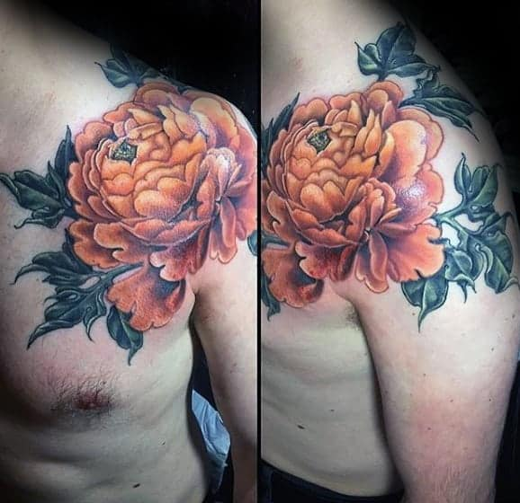 orange-peony-flower-mens-shoulder-tattoos