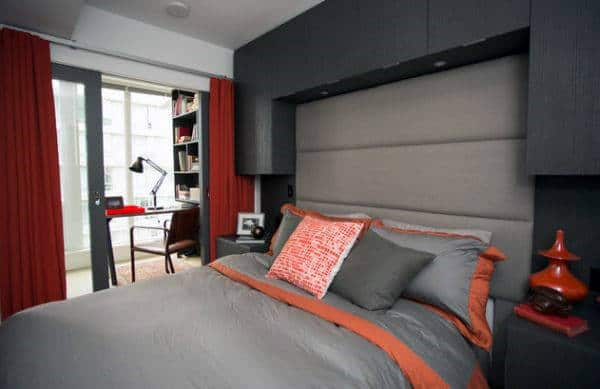 Orange And Red Color Men's Bedroom