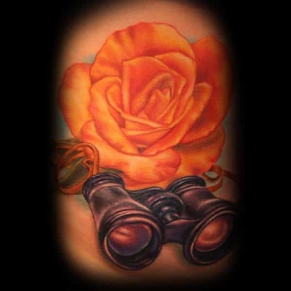 Orange Rose Flower Binoculars Tattoo Designs For Men