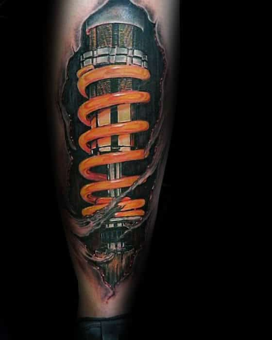 Orange Shock Torn Skin Guys 3d Leg Tattoo