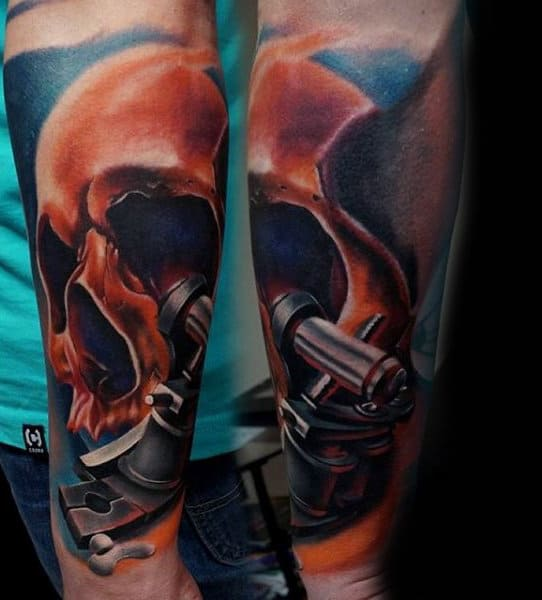 Orange Skull Half Sleeve Forearm Guys Tattoo Ideas