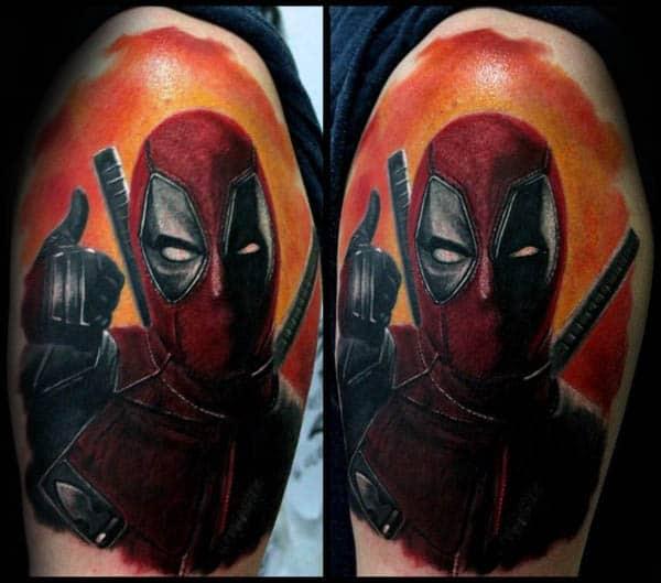 Orange Sky Deadpool Guys Upper Arm Watercolor Tattoos