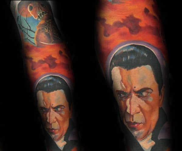 Orange Sky With Dracula Portrait Guys Sleeve Tattoos