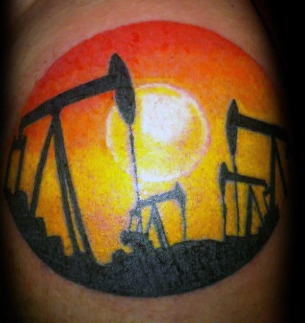 Orange Sun Mens Oilfield Pumpjack Tattoo On Arm