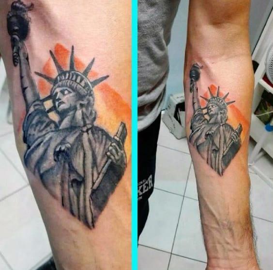 Orange Sunset Mens Mens Statue Of Liberty Tattoo Designs