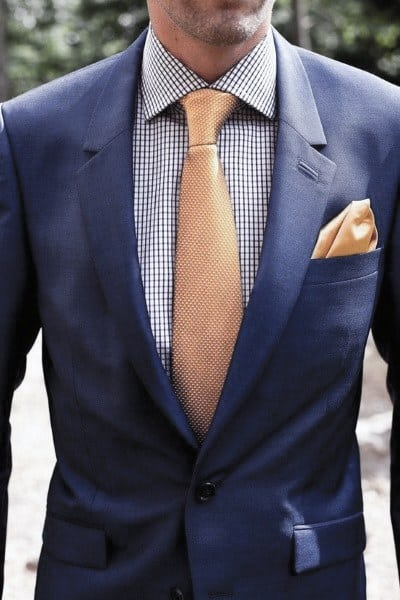 Orange Tie And Pocket Square Guys Navy Blue Suit Fashion Ideas