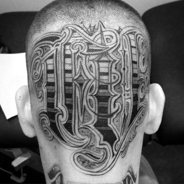 Orante Lettering Male Head Tattoos