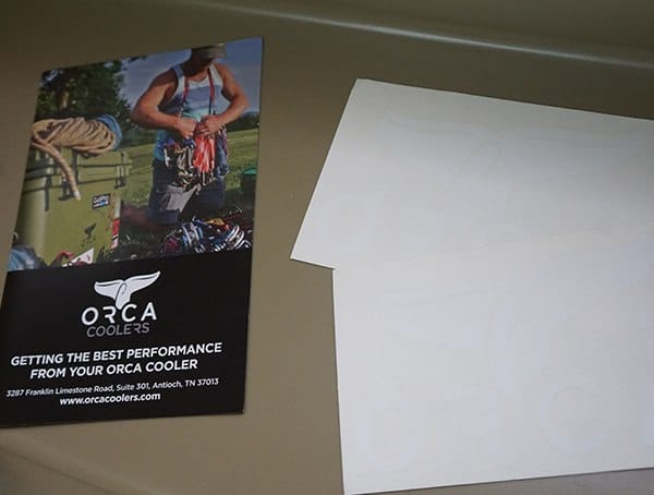 Orca 75 Cooler Review Stickers And Instruction Sheet