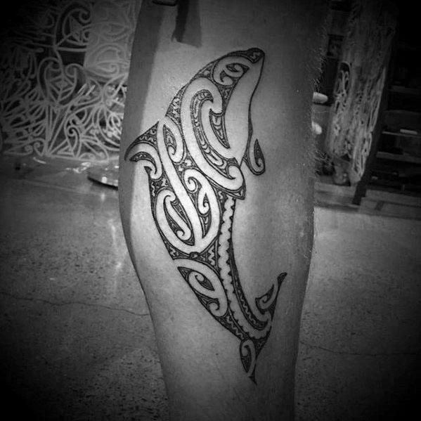 Orca Tribal Leg Tattoos Male
