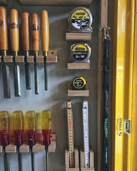 Organized Tape Measure And Chisel Wall Tool Storage Ideas