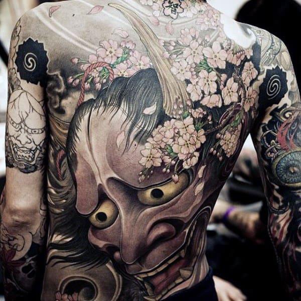 Oriental Flowers And Ogling Eyed Monster Tattoo Male Full Back