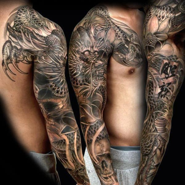 Oriental Grey Dragon Tattoo Male Full Sleeves