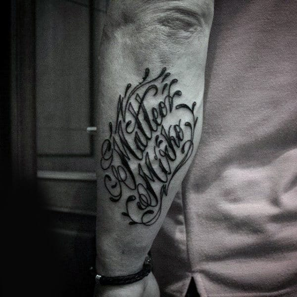 Oriental Lettering Tattoo Mens Forearms