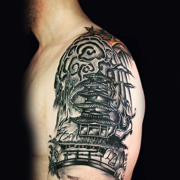 Oriental Monument Quarter Sleeve Tattoo For Men