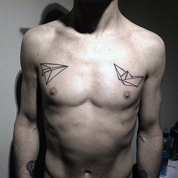 Origami Mens Paper Airplane Chest Tattoos