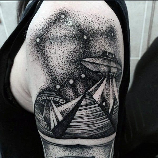 Original Dotwork Tattoo Of Ufo Mans Arms