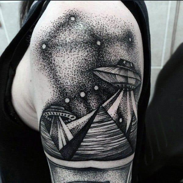 Original Dotwork Tattoo Of Ufo Mans Arms