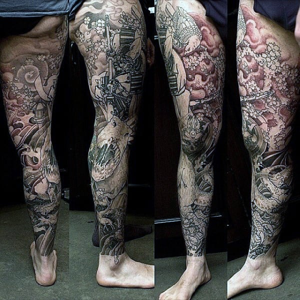 Original Guys Japanese Dinosaur Full Leg Sleeve Tattoos