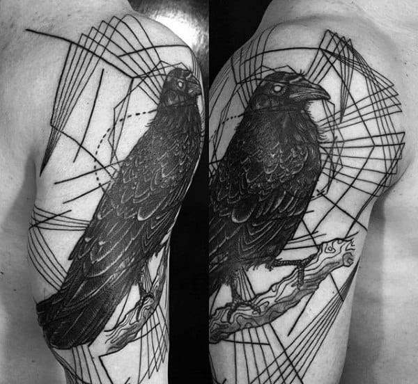 Original Linework With Black Crow Mens Arm Tattoos