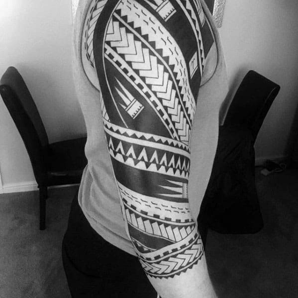 Original Mens Polynesian Half Sleeve Tribals Tattoos