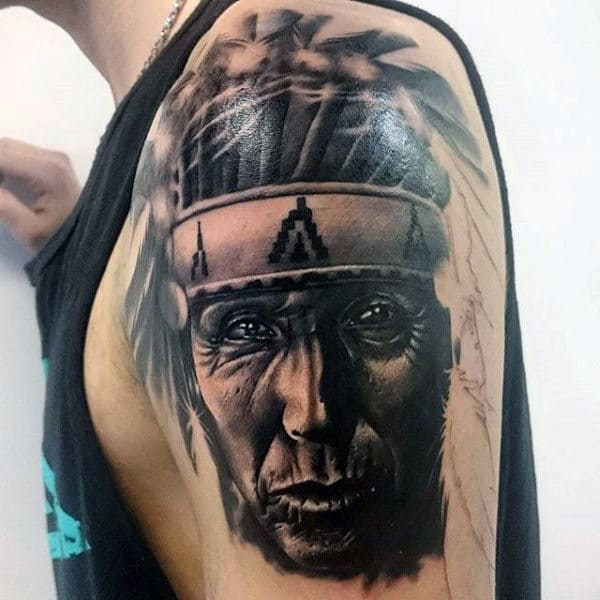 Original Native American Chief Tattoo Mens Arms