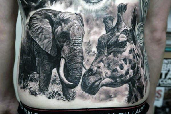 Original Wild Animal Tattoos On Full Stomach