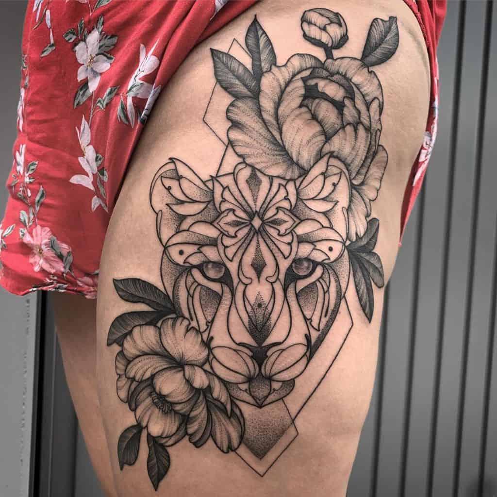Ornament Flower Lion Tattoo
