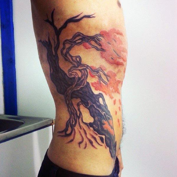 Ornamental Bonsai Tree Rib Cage Mens Tattoo Ideas