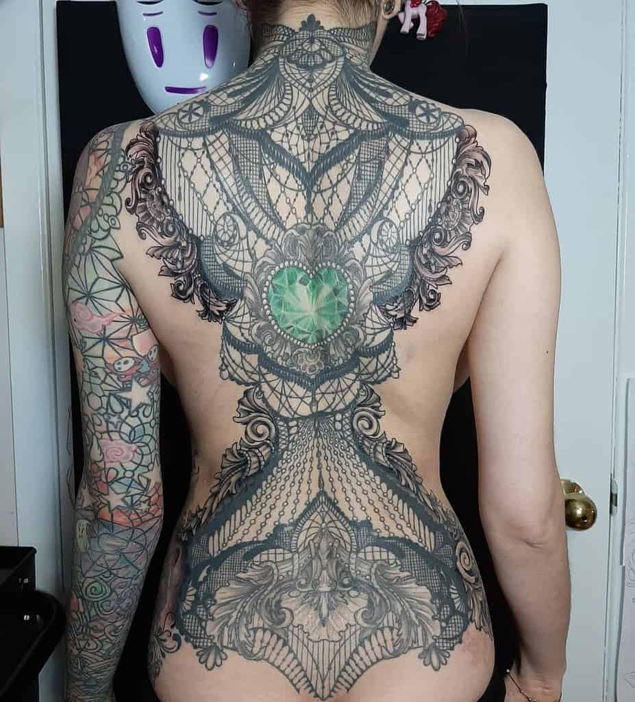 Ornaments Backpiece Lace Tattoo Design
