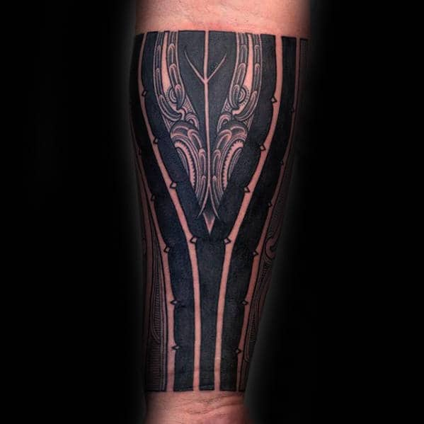 Ornate Blackwork Polynesian Guys Tribal Forearm Tattoo