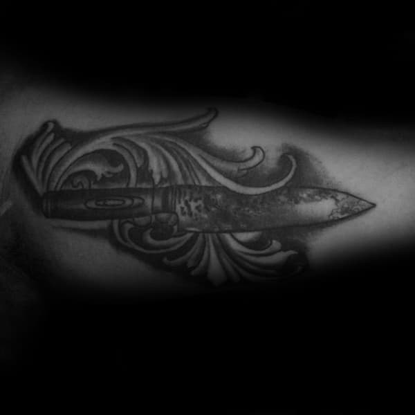 Ornate Chef Knife Mens Inner Arm Bicep Tattoo