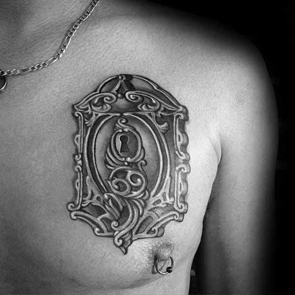 Ornate Chest Lock Tattoos For Guys