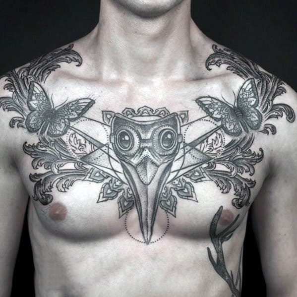 Ornate Chest Plague Doctor Male Tattoos