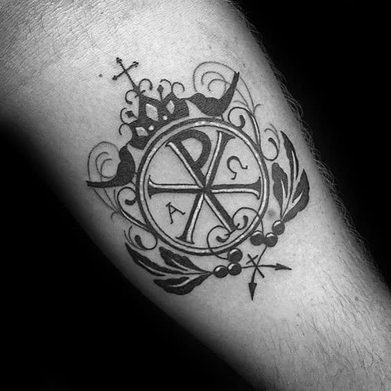 Ornate Chi Rho Cross Tattoos For Guys On Arms