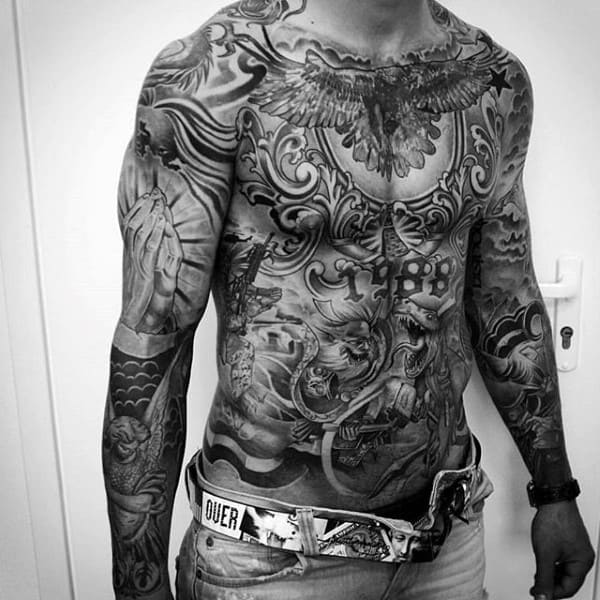 Ornate Chicano Full Chest Tattoo On Gentleman