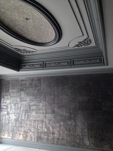 Ornate Dark Grey Trey Ceiling Dining Room Home Interior Designs Crown Molding