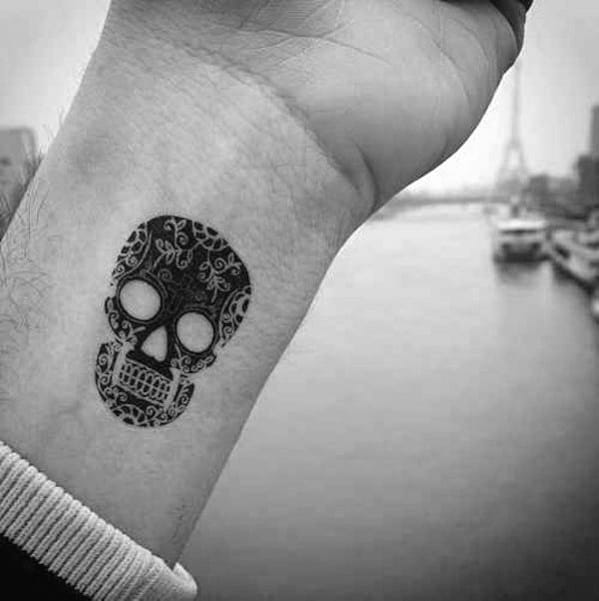 Ornate Day Of The Day Wrist Guys Small Skull Tattoo Ideas