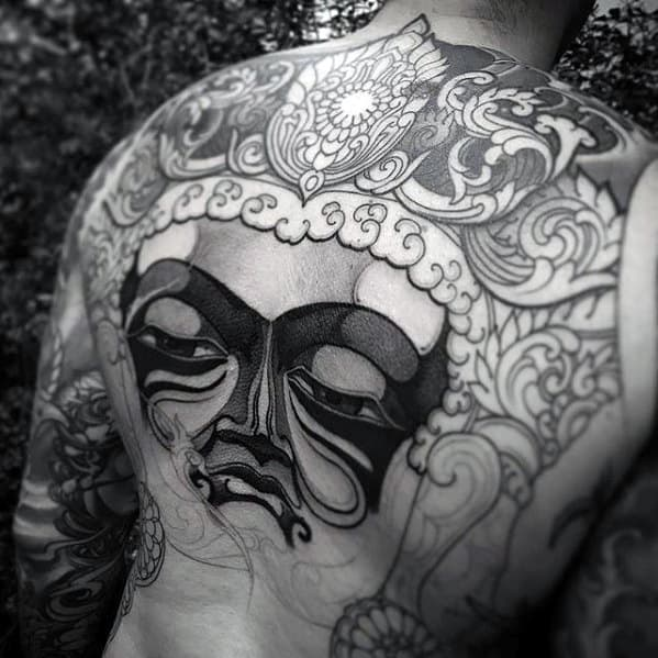 Ornate Detailed Badass Guys Tattoo Design Ideas On Back