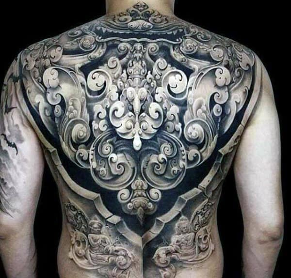 Ornate Detailed Male Crazy Full Back Tattoo Designs