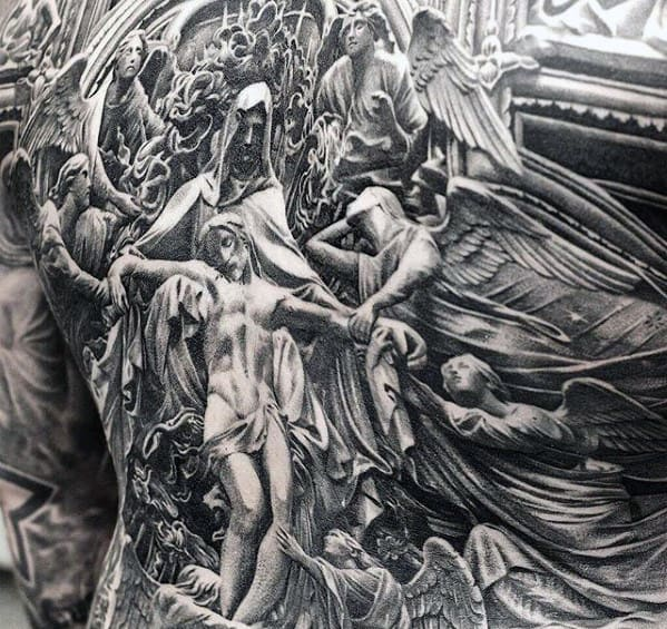 Ornate Detailed Mens Fallen Jesus Full Back Tattoos
