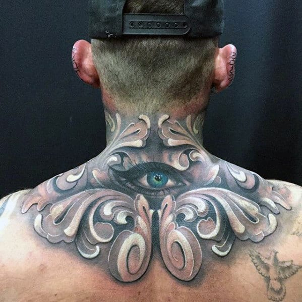Ornate Eye Upper Back Mens Cool Tattoo Ideas