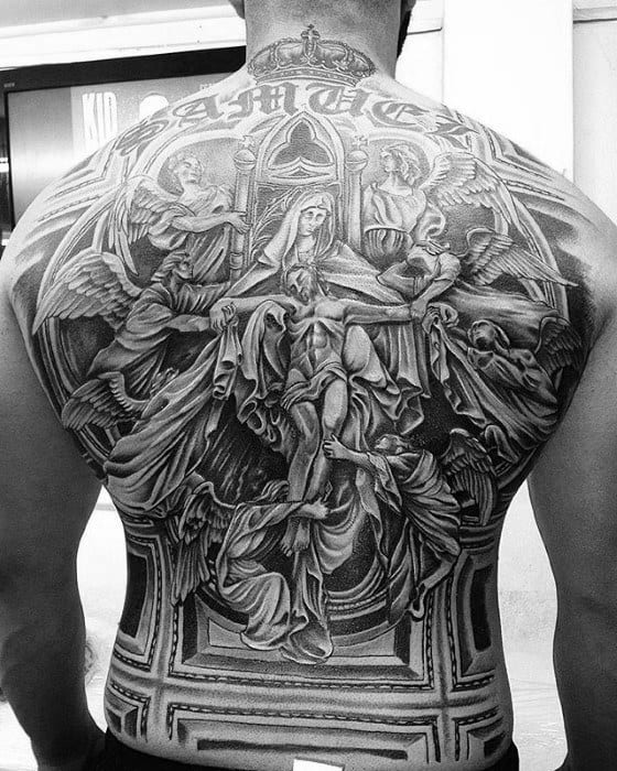 Ornate Fallen Jesus Catholic Guys Shaded Back Tattoo