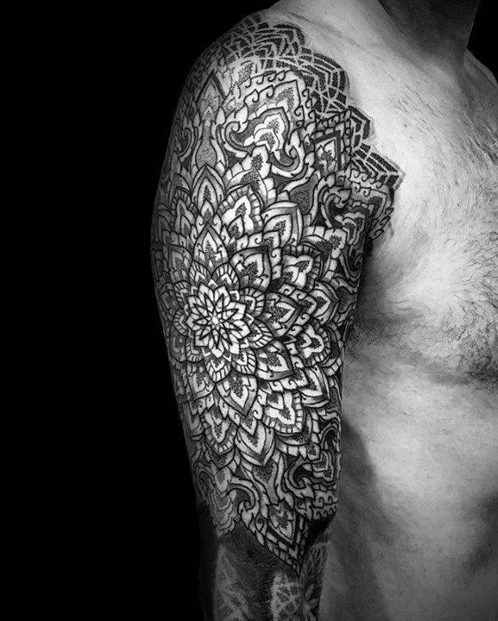 Ornate Floral Geometric Sleeve Tattoos Men