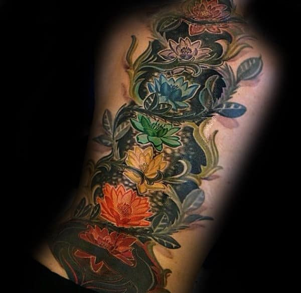 Ornate Flower Chakras Mens Back Tattoos